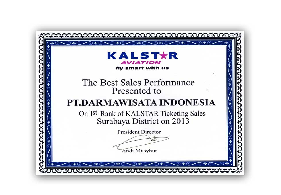 Kalstar Aviation - 1st Rank of KALSTAR Ticketing Sales Surabaya District on 2013