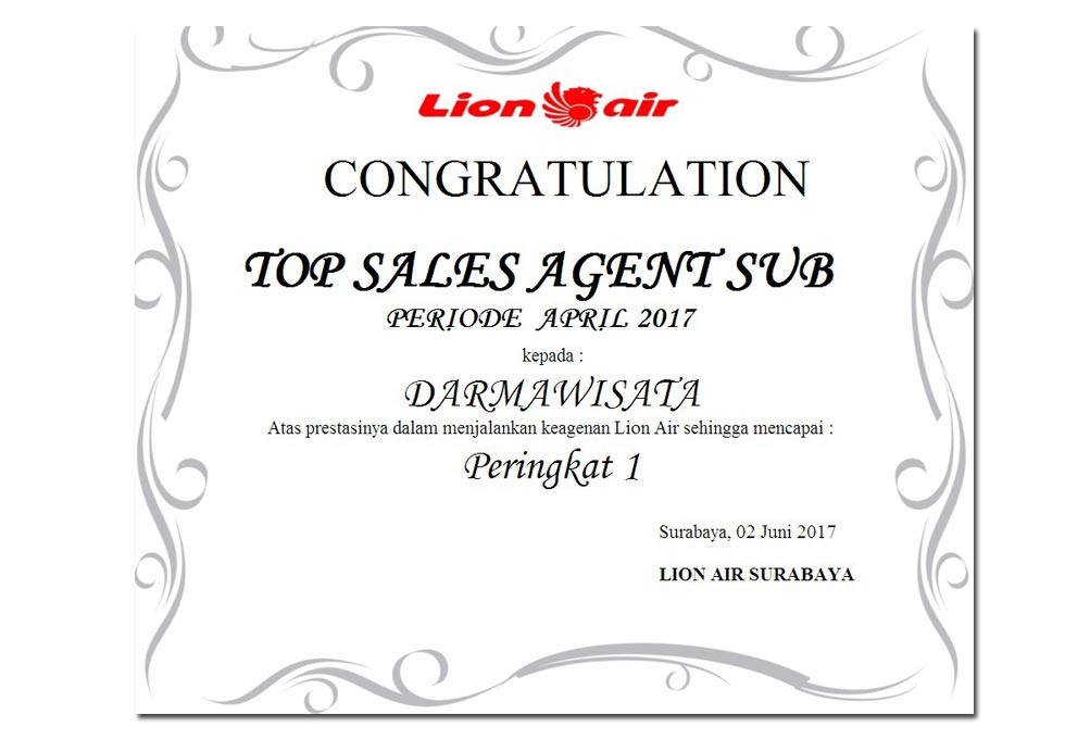 Lion Air - Top Sales Agent SUB April 2017