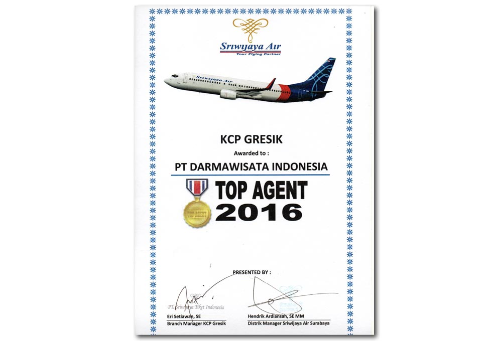 Sriwijaya Air - Top Agent 2016