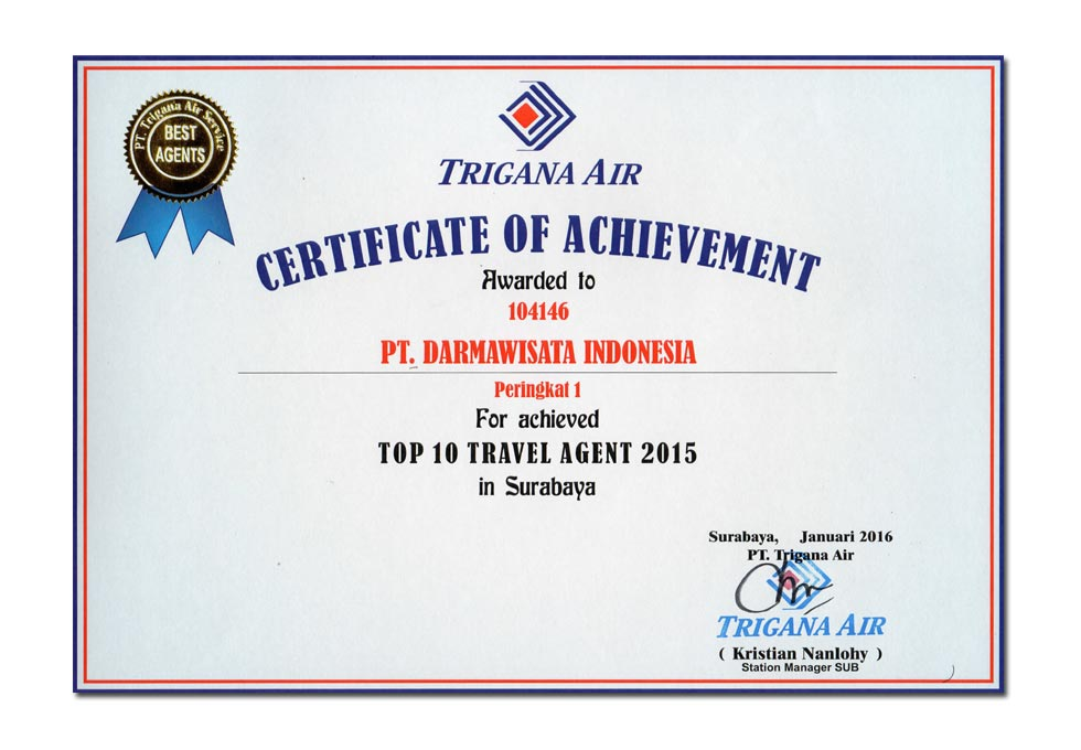 Trigana Air - Top 10 Travel Agent 2015 in Surabaya