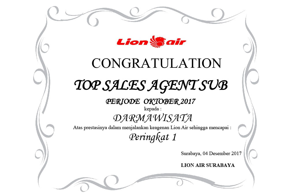 Lion Air - Top Sales Agent SUB Oktober 2017