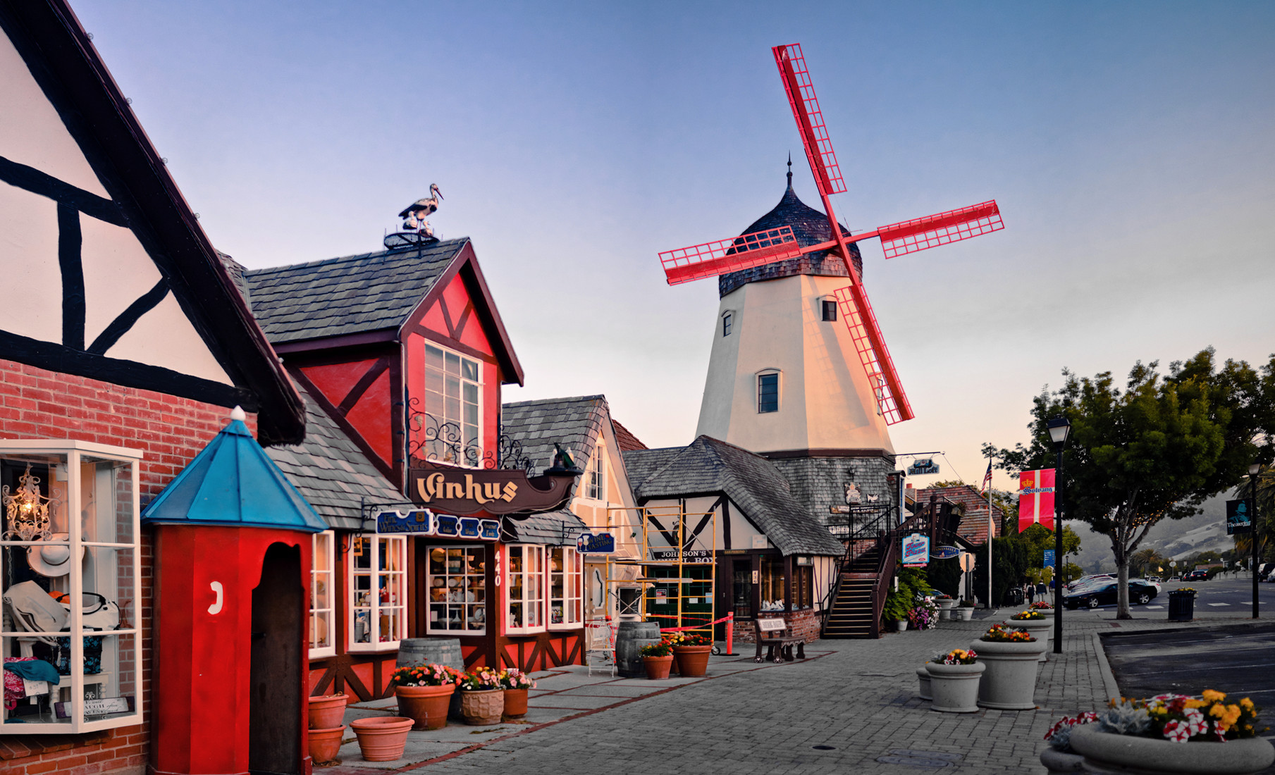 Danish windmills in Solvang, California