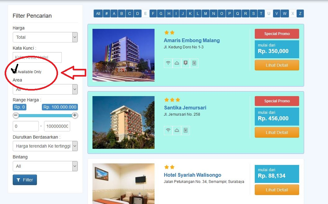 Fitur Hotel Available Only